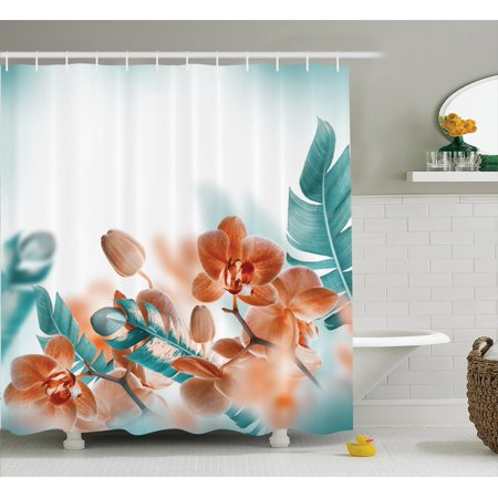 Tropical Decor Shower Curtain Set, Tropical Orchids Blossom Leaves On Blurred Background Floral Themed Modern Art, Bathroom Accessories, 69W X 70L Inches, By Ambesonne