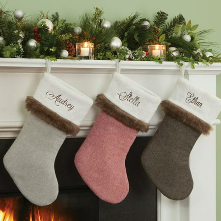 - Personalized Herringbone Christmas Stocking With Fur Trim