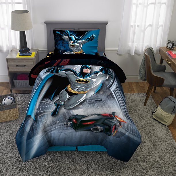 Batman Bed in a Bag, Kids Bedding Bundle Set, 4 Piece Twin