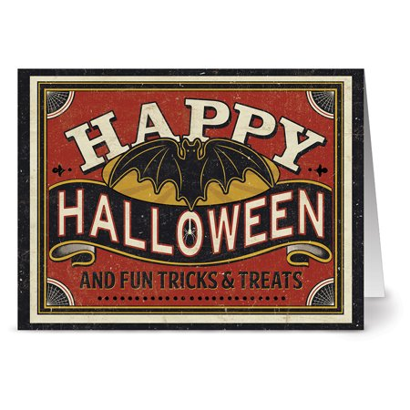 24 Halloween Note Cards - Fun Tricks & Treats - Blank Cards - Tangerine Zest Envelopes Included
