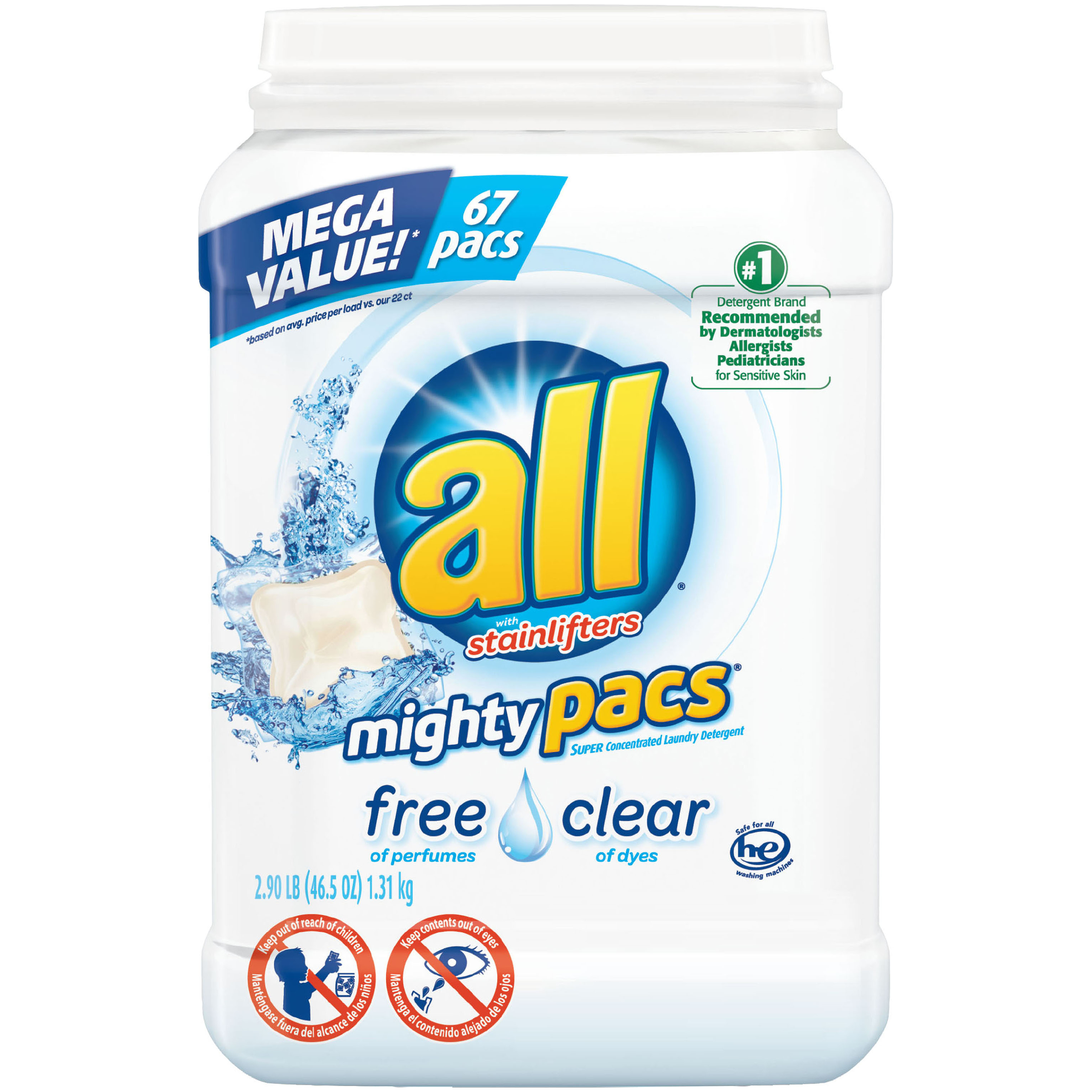 all Mighty Pacs Laundry Detergent, Free Clear for Sensitive Skin, Tub, 67 Count