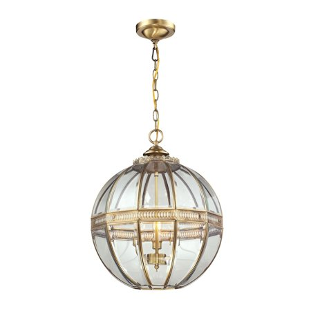 Elk Lighting Randolph 3 Light Pendant in Brushed Brass and Clear - image 1 of 2