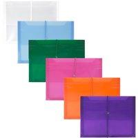 JAM Plastic Elastic Envelopes, 9.8x13x2.6, 6/Pack, Assorted, 2 5/8 Expansion