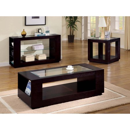 - ACCENT TABLE - CAPPUCCINO VENEER WITH GLASS INSERT