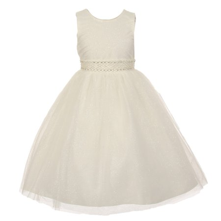The Rain Kids Little Girls Ivory Sparkly Tulle Pearls Occasion Dress - Girls Ivory Dress