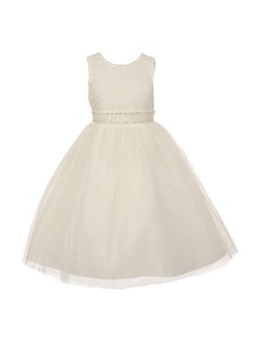 fdd68def552b9 Product Image The Rain Kids Little Girls Ivory Sparkly Tulle Pearls  Occasion Dress 6