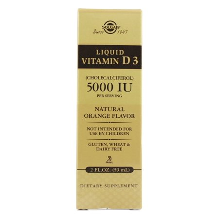 Solgar - liquide vitamine D3 saveur d'orange naturelle 5000 UI - 2 oz.