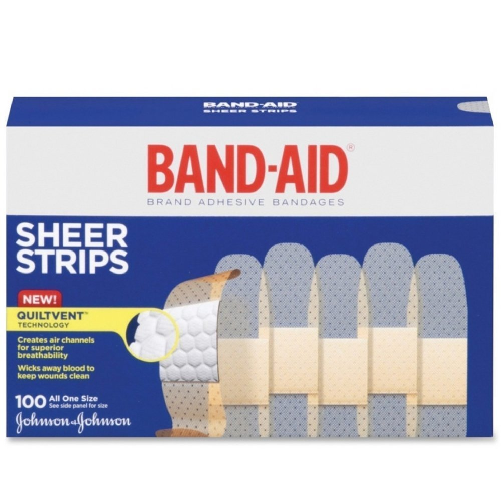 "Comfort-Flex Adhesive Bandages-Sheer-100ct, 3/4"", Packaged for individual use and to replenish first aid stations and kits. By Band-Aid"