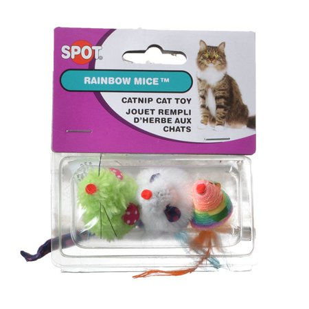 Spot Spotnips Rainbow Mice Cat Toys - Assorted 3 Pack
