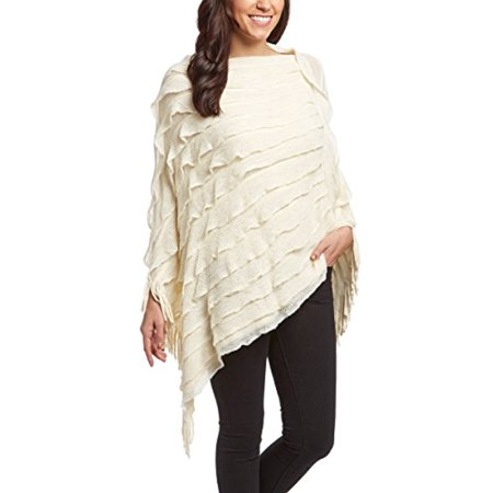 Peach Couture Women Trendy Ruffle Batwing Fringe Shawl Wrap Poncho Cape Cardigans Sweater