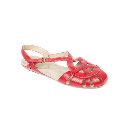 Car Shoe By Prada Red Leather Caged Sandals