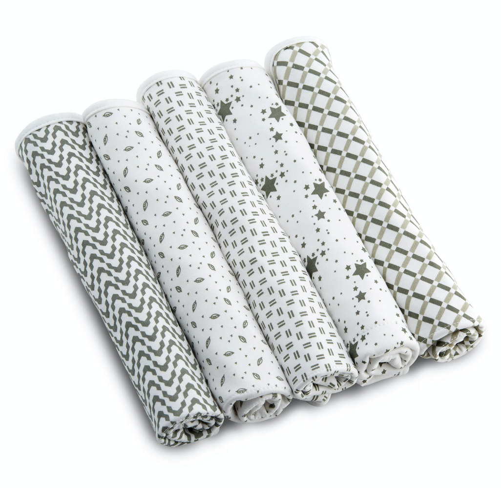 """Enovoe Baby Burp Cloths for Boys and Girls (5 pack) - 21"""" x 10"""" - 100% Organic Certified Cotton, Extremely Absorbent, Soft and Durable Burping Cloth Rags, Perfect for Babies Drool and Spit Ups"""