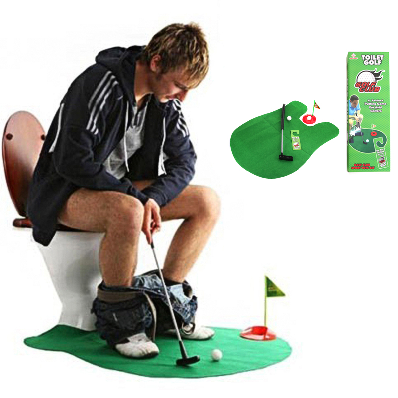 Toilet Game Mini Golf Set Golf Putting New Potty Putter Novelty Items (Green) by
