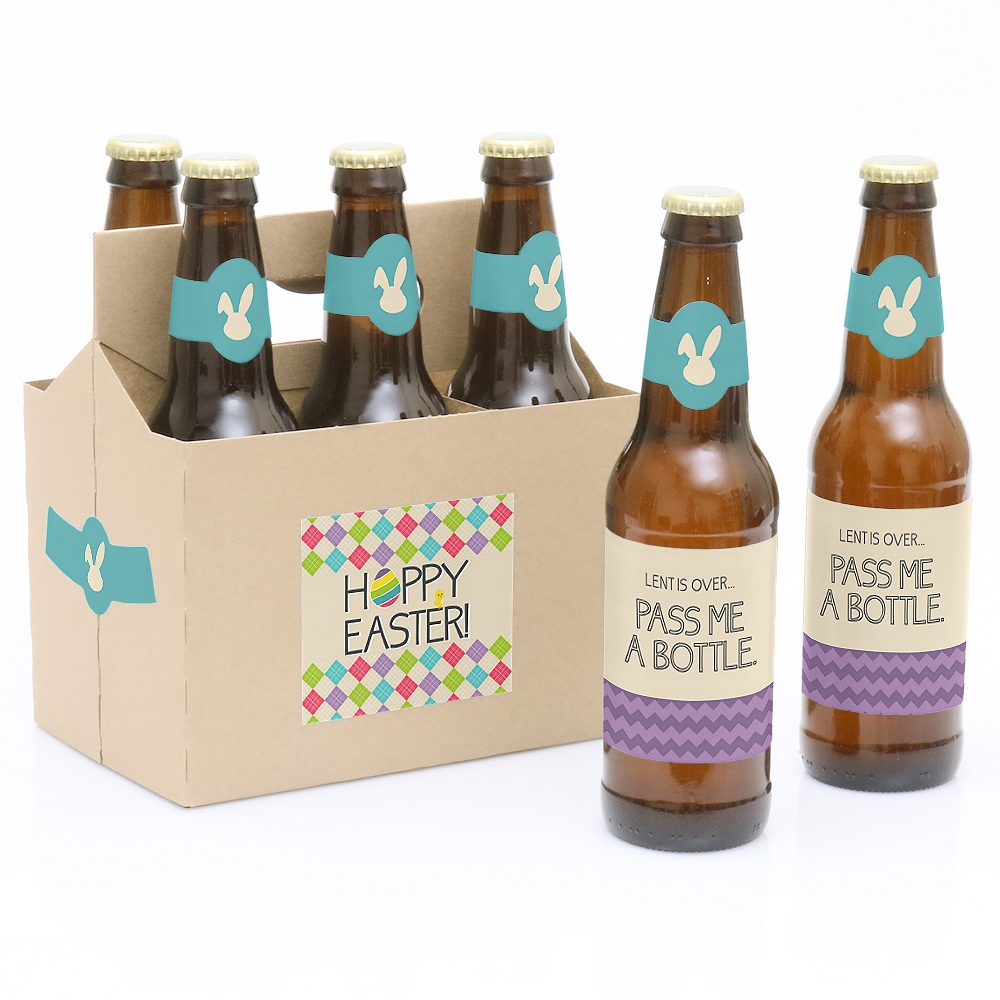 Hippity Hoppity - 6 Easter Party Beer Bottle Labels with 1 Beer Carrier