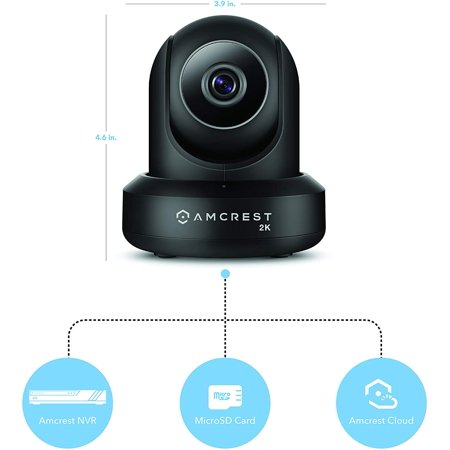 Amcrest UltraHD 2K (3MP/2304TVL) WiFi Video Security IP Camera with Pan/Tilt, Dual Band 5ghz/2.4ghz, Two-Way Audio, 3-Megapixel @ 20FPS, Wide 90° Viewing Angle and Night Vision IP3M-941B (Black) - image 5 of 5