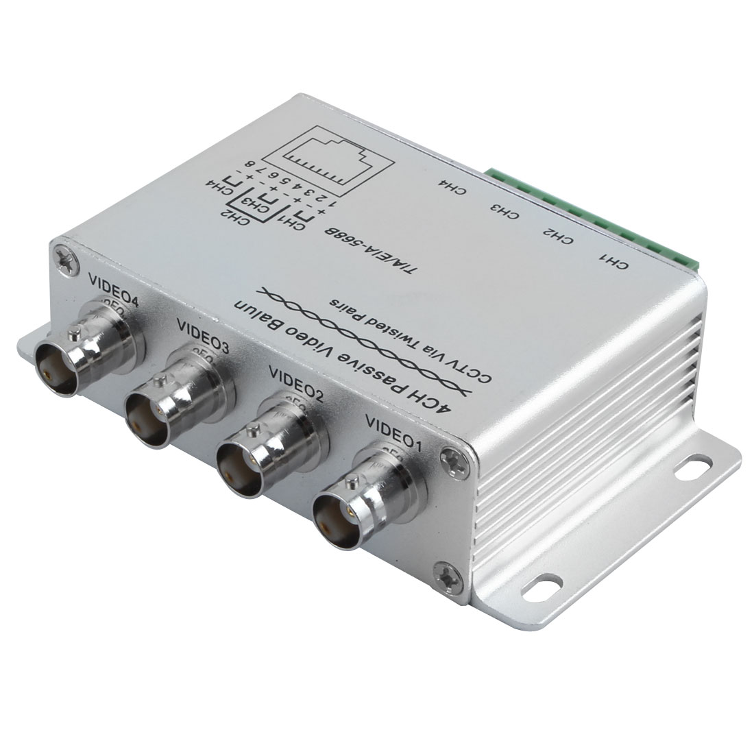 Unique Bargains Silvery UTP 4 Channel Passive Video Balun Transceiver