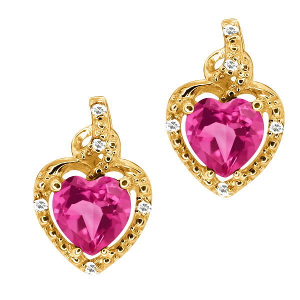 1.86 Ct Heart Shape Pink Mystic Topaz White Topaz 14K Yellow Gold Earrings