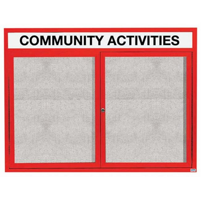 Aarco Products ODCC4860RHIR 2-Door Illuminated Outdoor Enclosed Bulletin Board with Header - Red