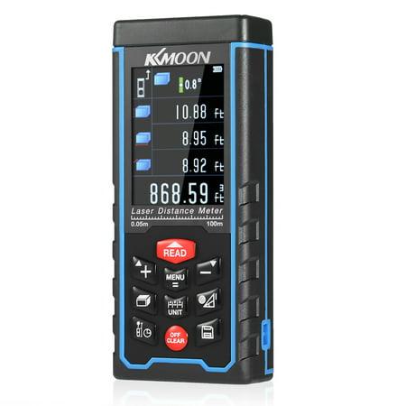 KKmoon 100m Portable Handheld Rechargeable Digital Laser Distance Meter Color Display Range Finder Diastimeter Area Volume Measurement with Angle Indication High-precision