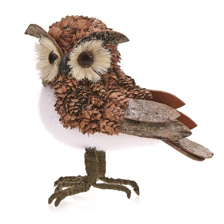 Pack of 2 Country Rustic Oliver the Owl Bark and Pine Cone Christmas Table Top Decorations 7.5