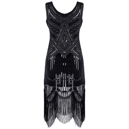 Great Gatsby Style Dresses Cheap (USA Womens Vintage 1920s Sequin Fringe Great Gatsby Cocktail Party Flapper)