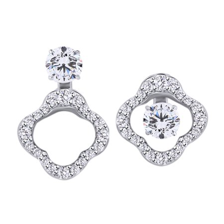 9k Rose Earrings (0.25 Cttw Round Cut White Diamond Clover Stud Earrings Jacket In 14K Solid White Gold)