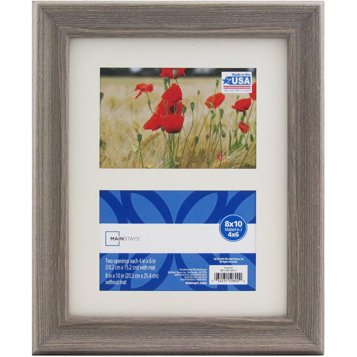 mainstays 8x10 matted to two 4x6 openings graywash picture frame walmart com