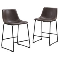 """Pemberly Row 26"""" Faux Leather Counter Stool in Brown (Set of 2)"""