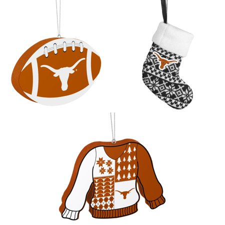 NCAA Texas Longhorns Foam Christmas Ball Ornament ORNAMENT STOCKING KNIT Ugly Sweater Bundle 3 Pack By Forever Collectibles