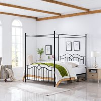 Simona Traditional Iron Canopy Queen Bed Frame, Flat Black