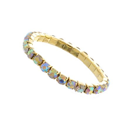 Fashion Bracelet Gold Plating Aurora Borealis 1 Row Elastic Link Bracelet