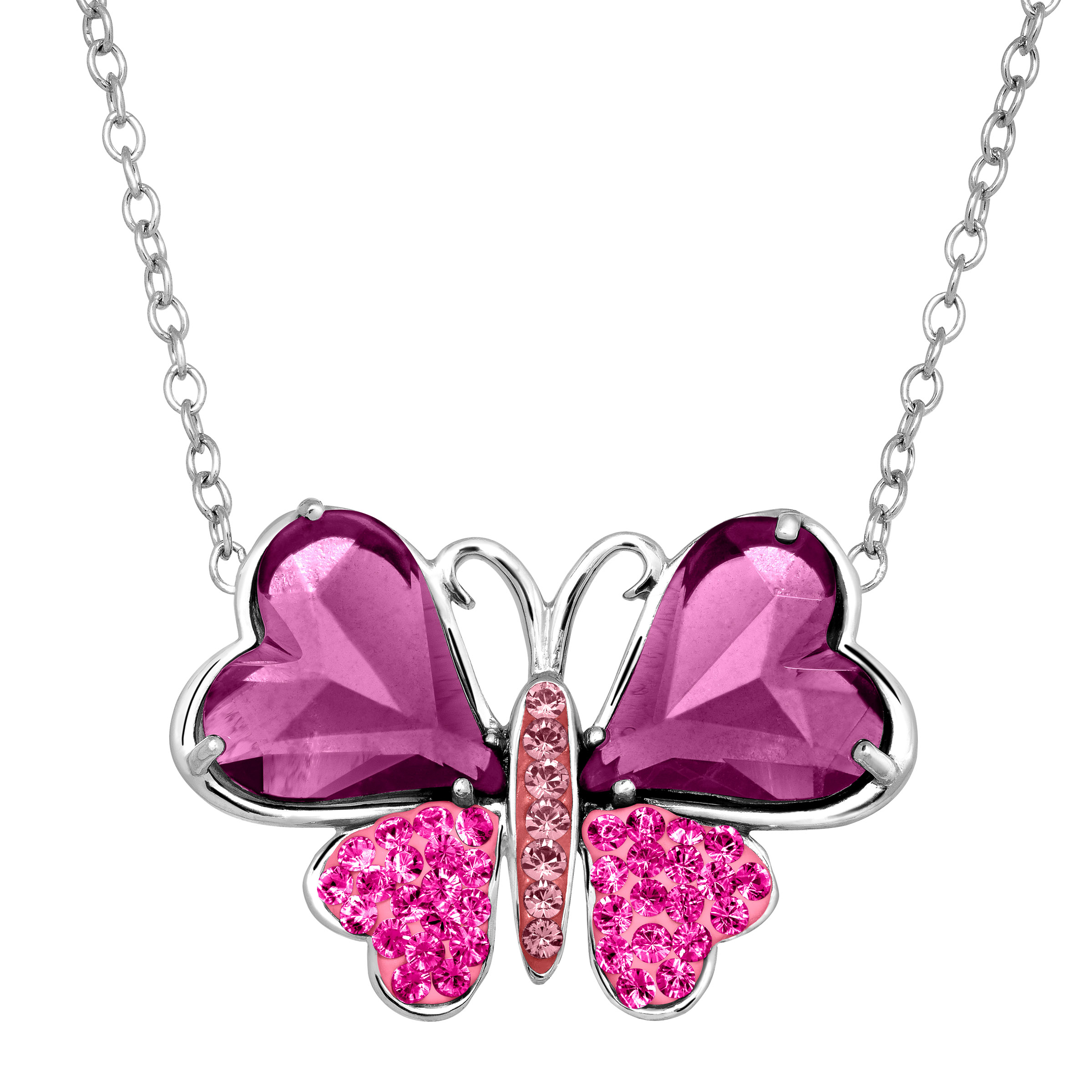 Richline Luminesse Two-Tone Butterfly Pendant Necklace with Swarovski Crystals in Sterling Silver