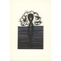 """GEORGE NAMA Water III 9.5"""" x 6.5"""" Linocut 1973 Gray"""