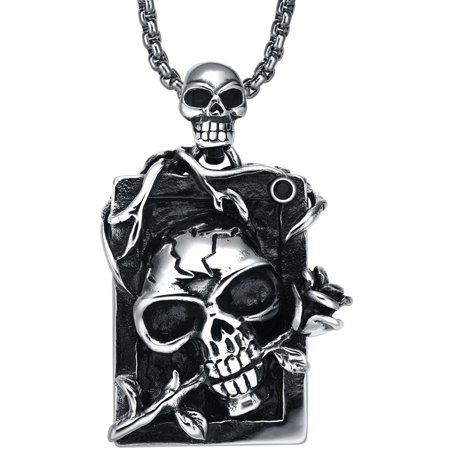 Stainless Steel Gothic Demon Skull and Rose W. Black Crystal Pendant (Black Rose Gothic)
