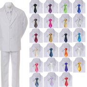 6pc Boy Kid Teen Formal Wedding Wear White Suit Tuxedo Extra Satin Necktie 8-20