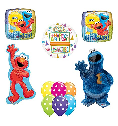 Sesame Street Waving Elmo and Cookie Monster Party Supplies and Balloon Bouquet Decorations