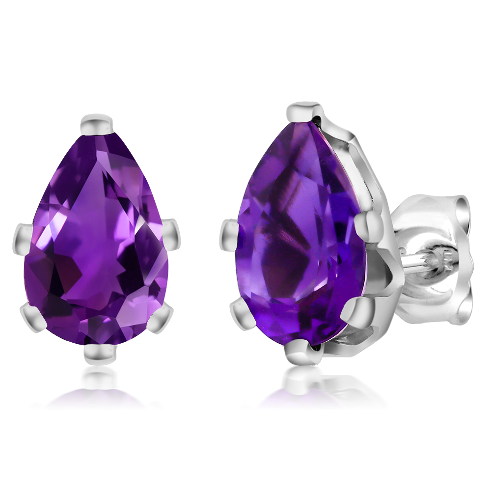 2.00 Ct Pear Shape Natural Amethyst 925 Sterling Silver 6-Prong Stud Earrings