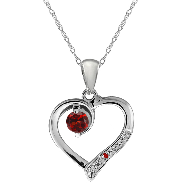 """Genuine Red Garnet 925 Sterling Silver Heart Shape Pendant with 18"""" Chain"""
