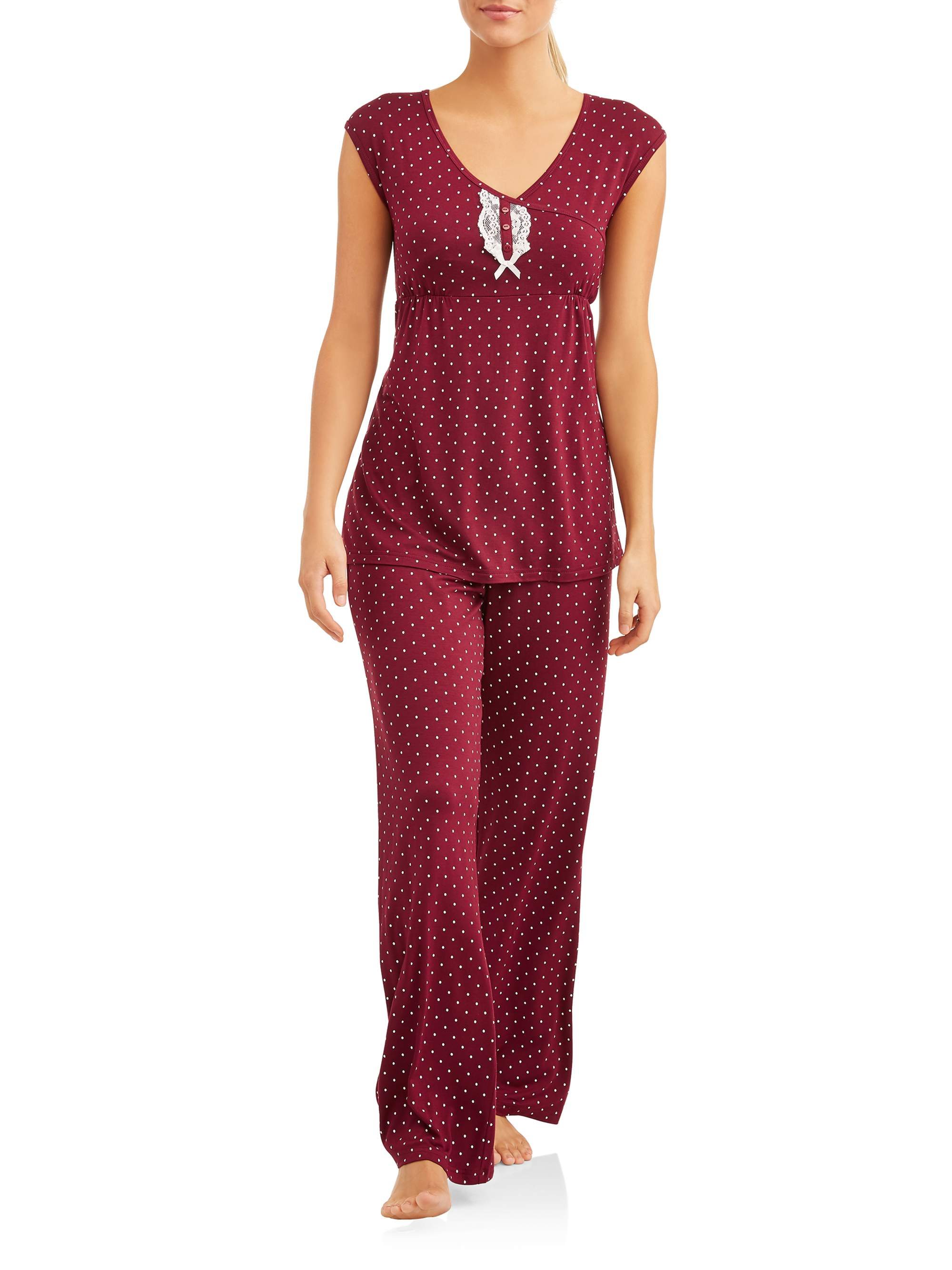 Maternity Nursing Sleeveless Snap-Down Henley Top and Pants Sleep Set by PPI Apparel Group