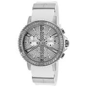 A0531gaifsm Women's Crystal Chrono White Rubber Silver-Tone Dial Watch
