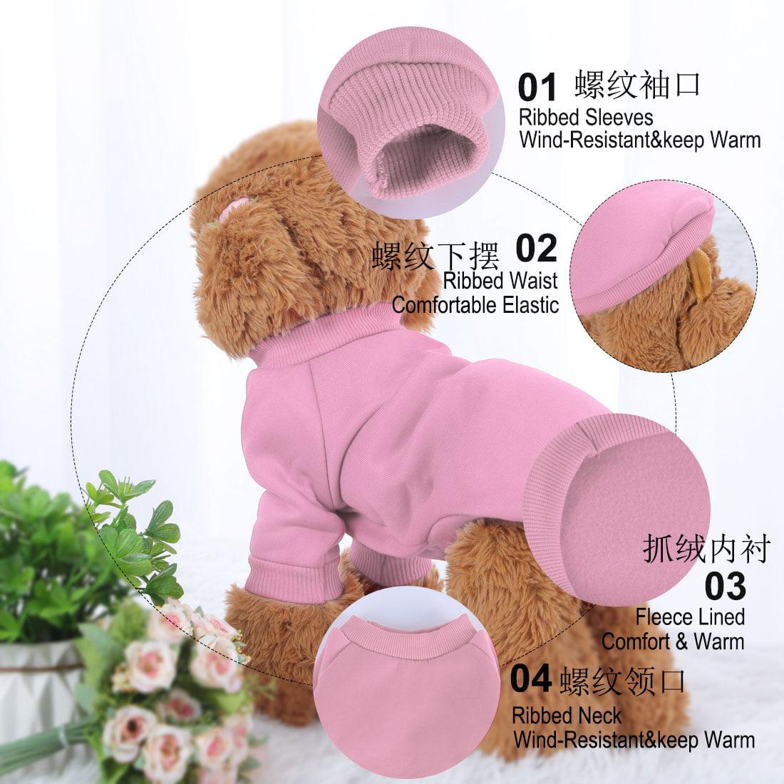 Cotton Blend Dog Winter Sweatshirt Pet Clothes Fleece Lined Warm Coat Pink XL - image 6 of 7