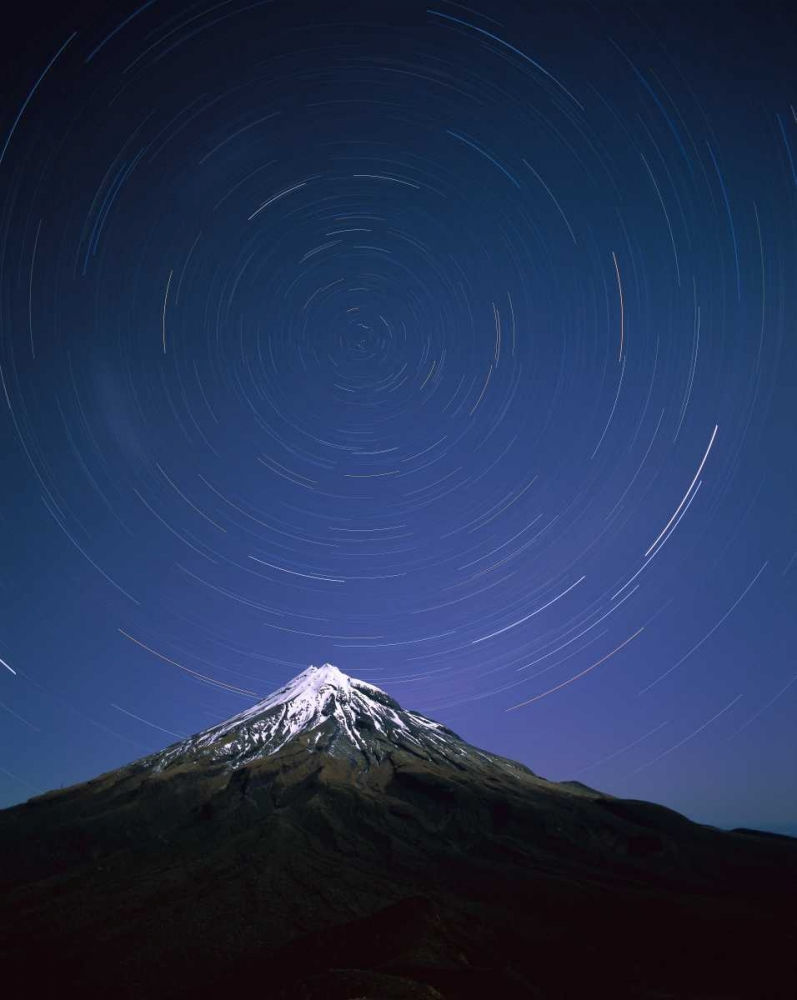 22 x 28 Star trails around the south celestial pole over Mt Taranaki New Zealand Poster Print by Harley Betts