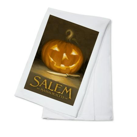 Salem, Massachusetts - Jack-O-Lantern - Halloween Oil Painting - Lantern Press Artwork (100% Cotton Kitchen Towel)