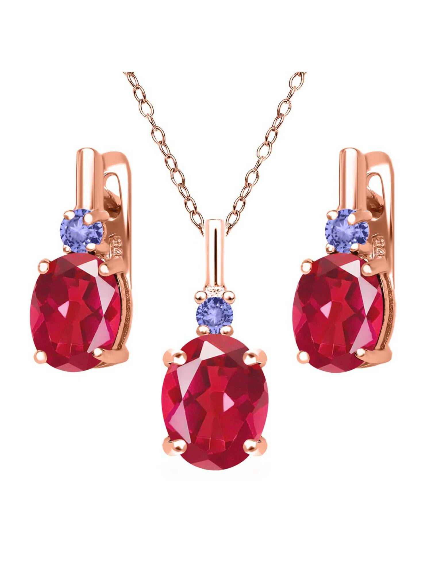 6.98 Ct Last Dance Pink Mystic Quartz Blue Tanzanite 18K Rose Gold Plated Silver Pendant Earrings Set by
