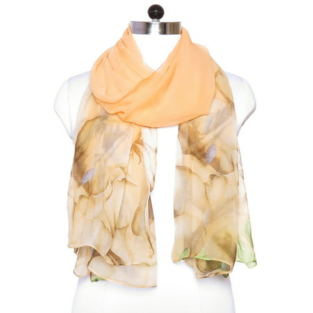 Peach Scarfs for Women Viscose Silk Fashion Scarfs Summer Paisley Print Soft Neck Womens Scarves for Ladies Gift Accessories by Oussum