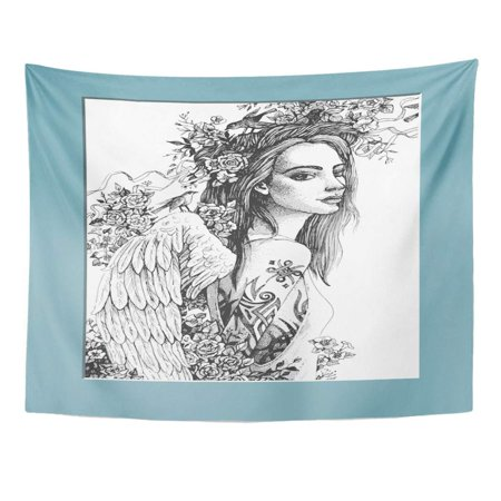 UFAEZU Gray Face Angel Tattoo Imitation Engraving Techniques Adult Beautiful Beauty Wall Art Hanging Tapestry Home Decor for Living Room Bedroom Dorm 51x60 inch