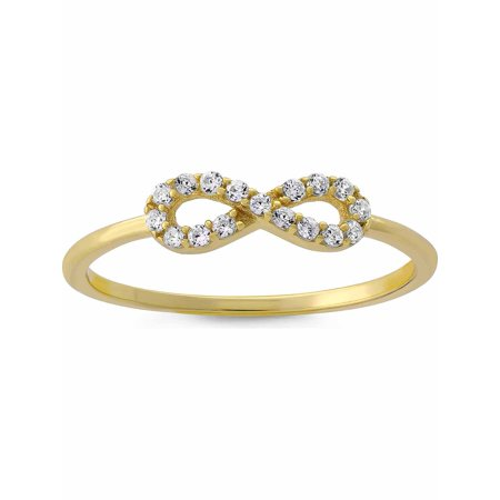 CZ 18kt Gold over Sterling Silver Infinity Stack Ring