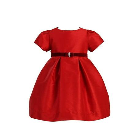 Angels Garment Baby Girls Velvet Ribbon Brooch Red Dress - Red Velvet Dress Girls