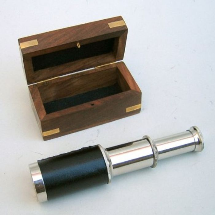 India Overseas Trading SP48256 - Chrome Pullout Telescope, Wood Box
