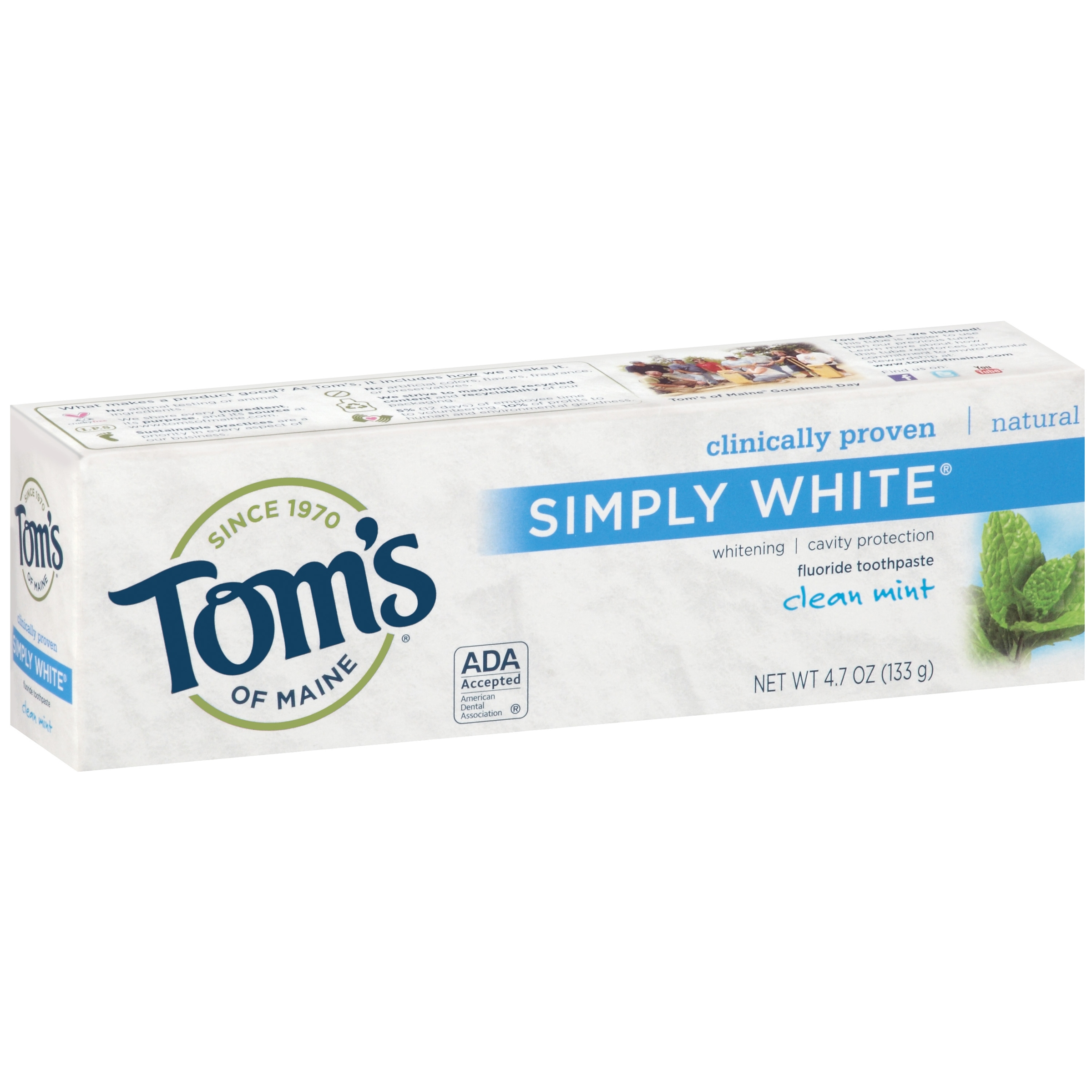 Toms of Maine Simply White Clean Mint Fluoride Toothpaste, 4.7 oz